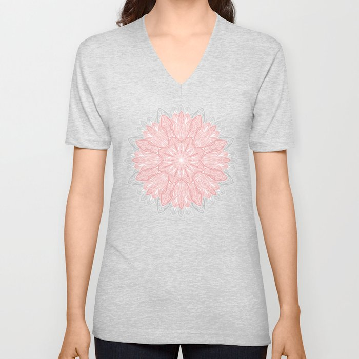 MANDALA IN GREY AND PINK Unisex V-Neck