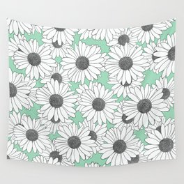 Daisy Mint Blocks Wall Tapestry