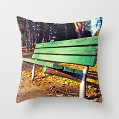 Autumn park bench Throw Pillow