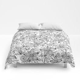Modern black white hand drawn floral Comforters