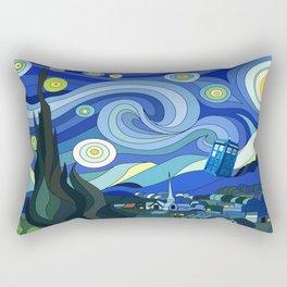 Tardis Art Starry Night Rectangular Pillow