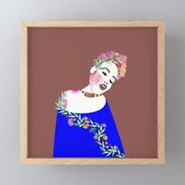 Flowered woman Framed Mini Art Print
