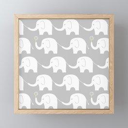 Elephant Parade on Grey Framed Mini Art Print