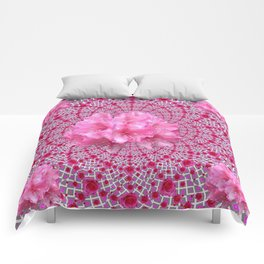 FUCHSIA OPTICAL PINK FLORAL PATTERN Comforters