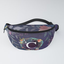 Personalized Monogram Initial Letter C Floral Wreath Artwork Fanny Pack