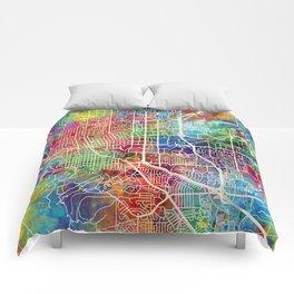 Boulder Colorado City Map Comforters