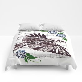 Quoth the Raven   (Raven and blue roses on sheet music) Comforters