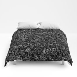 Crazy monsters in a crowded pattern Comforters