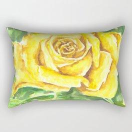 Yellow Rose Watercolor Painting Rectangular Pillow