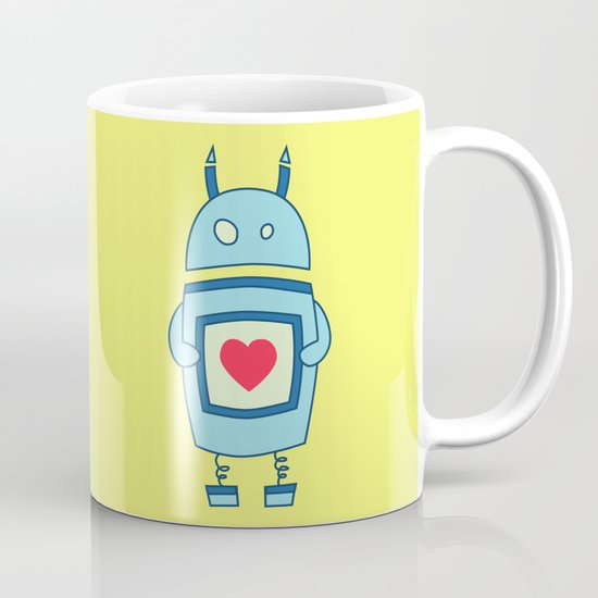 Cute Clumsy Robot With Heart Mug