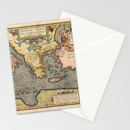 Vintage Map Print - 1608 Map of the Journey of Aeneas Stationery Cards