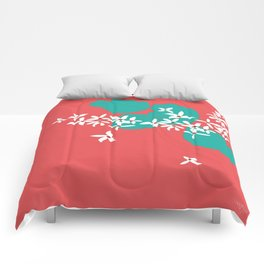 Minimalistic White Flowers On A Red Comforters