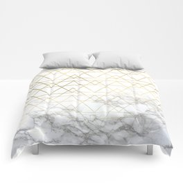 Gold Geometric Marble Deco Design Comforters