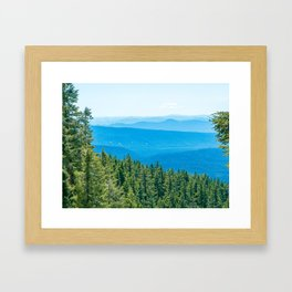 Artistic Brush // Grainy Scenic View of Rolling Hills Mountains Forest Landscape Photography Framed Art Print