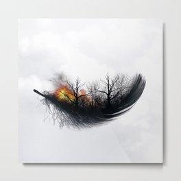 Fire Feather • Black Feather (horizontal) Metal Print