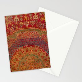 Bohemian Medallion VI // 15th Century Old Distressed Red Green Blue Coloful Ornate Rug Pattern Stationery Cards