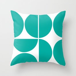 Mid Century Modern Turquoise Square Throw Pillow