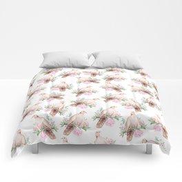 Hand painted modern pink brown watercolor peonies dove pattern Comforters