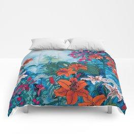 Blue Jungle of Orange Lily and Pink Trumpet Vine Floral Comforters