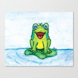 Happy Frog - Watercolor Canvas Print