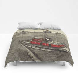 Morgan Tugboat, Hudson river, New York Comforters