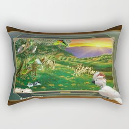 """Springtime Grazing in Napa Valley 24"""" x 36"""" oil over clay with illustrations of our rescued parrots Rectangular Pillow"""