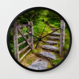 Path Into The Forest Wall Clock