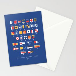 Maritime Nautical Signal Flags Chart - Navy Stationery Cards