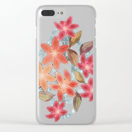 Cute Lilies and Leaves Clear iPhone Case