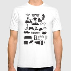 hipster Mens Fitted Tee White SMALL