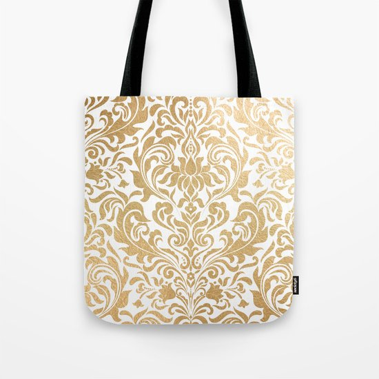 Gold foil swirls damask #12 Tote Bag