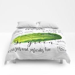 Watercolor cucumber Comforters