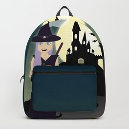 Cute Halloween Witch With Happy Pumpkin And Black Cat Backpack