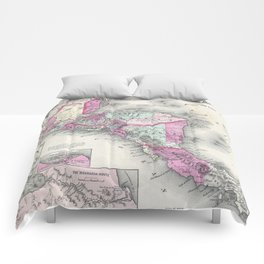 Vintage Map of Central America (1864) Comforters