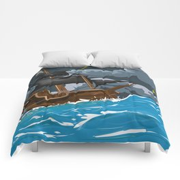 Pirate Ship in Stormy Ocean Comforters
