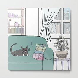 Cat and flies and sofa Metal Print