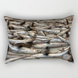 small silvery fish put on display to be sold. Fishes in the foreground and in the background unfocus Rectangular Pillow