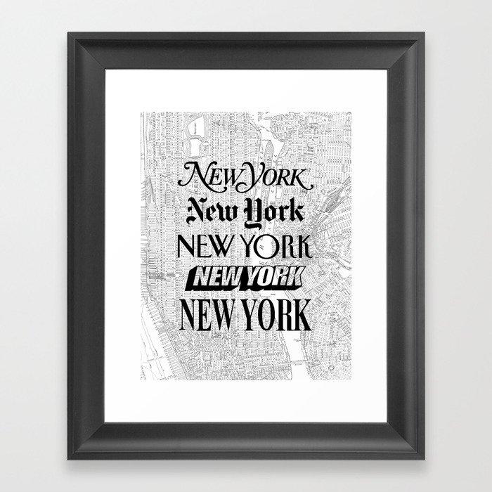 New York City black and white New York poster I love heart NYC Design black-white home wall decor Gerahmter Kunstdruck