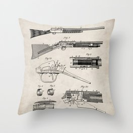 Automatic Rifle Patent - Browning Rifle Art - Antique Throw Pillow