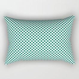 Ultramarine Green Polka Dots Rectangular Pillow
