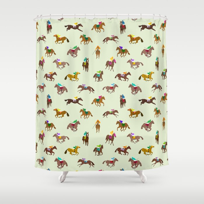 Off to the Horse Races (Mint) Shower Curtain