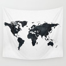 World Map in Black and White Ink on Paper Globe Map Tapestry Wall Tapestry