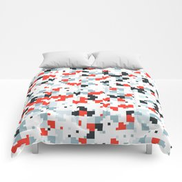 The accent color - Random pixel pattern in red white and blue Comforters