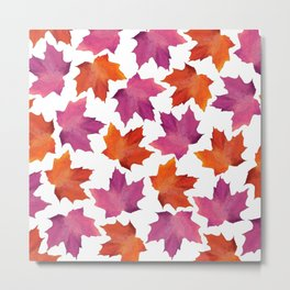 Modern Pink Orange Watercolor Autumn Leaves Metal Print