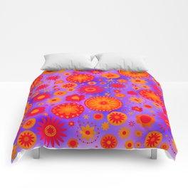 Red Orange & Purple Hippie Flower Pattern Comforters