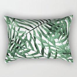 Dark Green Tropical Leaves Rectangular Pillow