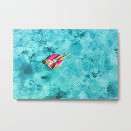 Drone aerial top view of beach vacation woman relaxing in donut float on turquoise ocean Bora Bora Metal Print