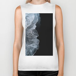 Waves on a black sand beach in iceland - minimalist Landscape Photography Biker Tank