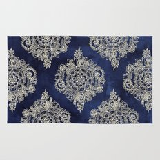 Cream Floral Moroccan Pattern on Deep Indigo Ink Rug