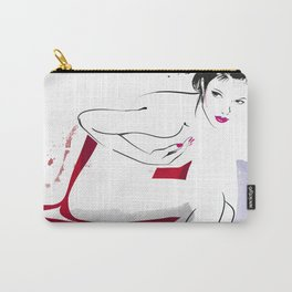 Naked Beauty, Nude Body, Fashion Painting, Fashion IIlustration, Vogue Portrait, Red colour, #14 Carry-All Pouch